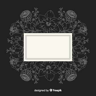 Hand drawn frame with floral design on black background