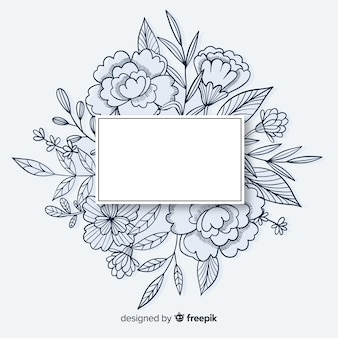 Hand drawn frame with floral design and copy space