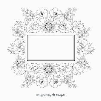 Hand drawn frame with floral design on white background