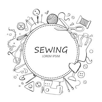 Ручной обращается рамка с швейными инструментами
