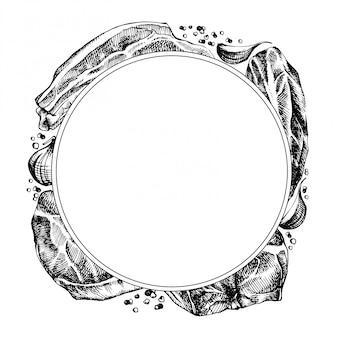 スケッチ肉と手描きのフレーム。詳細なインクフードイラスト。ステーキ肉手描きのコショウとローズマリー、ニンニク。