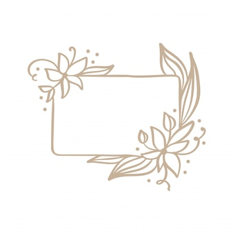 Hand drawn frame with spring flowers