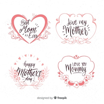 Hand drawn frames mother's day badge collection