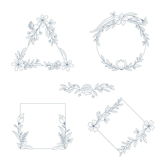 Cornici disegnate a mano con raccolta di fiori
