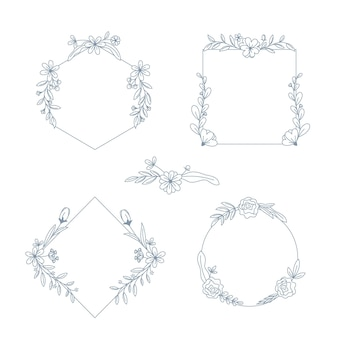 Hand drawn frames with flowers collection