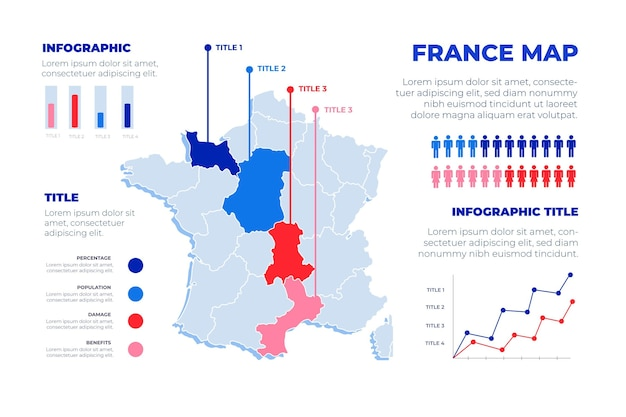 Нарисованная рукой карта франции инфографики