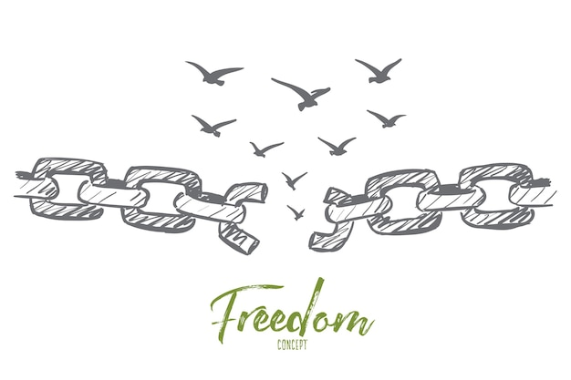Hand drawn freedom concept sketch with broken chain and flock of birds