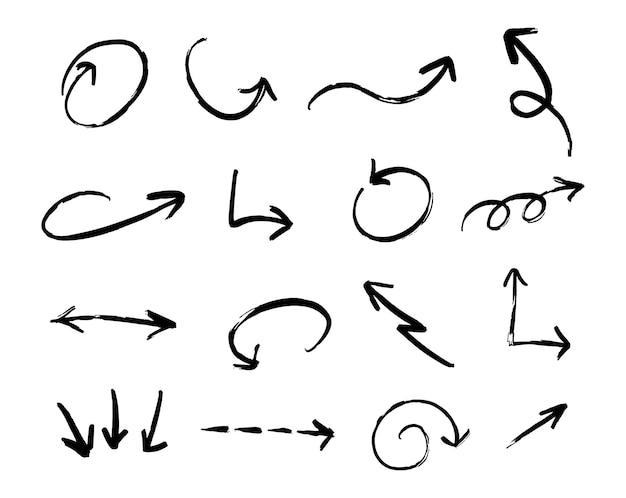Набор рисованной от руки вектор черные стрелки