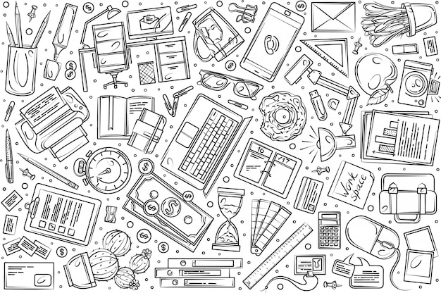 Hand drawn freelancing set doodle  background
