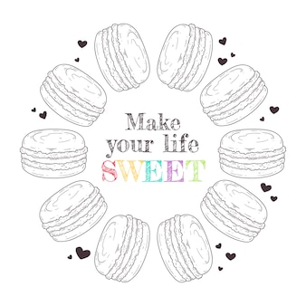 Hand drawn french illustration dessert macaroons
