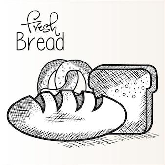 Рисованный свежий хлеб и крендель
