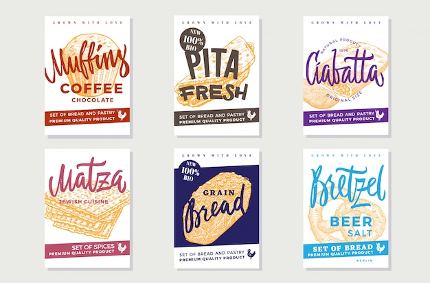 Hand drawn fresh bread posters