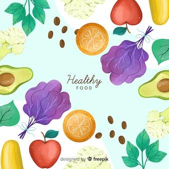 Hand drawn fresh food background