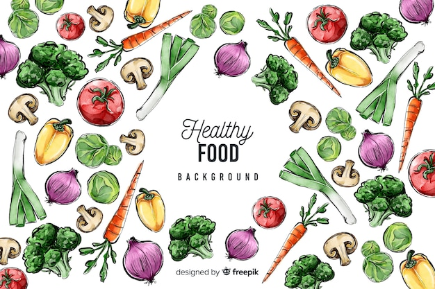 Hand drawn fresh food background