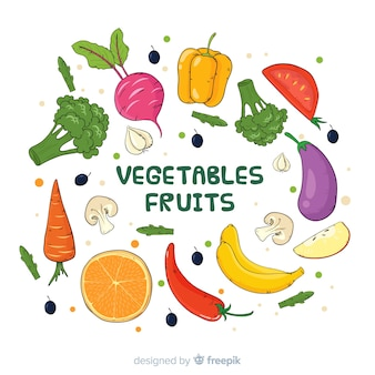Ручной обращается свежие фрукты и овощи фон