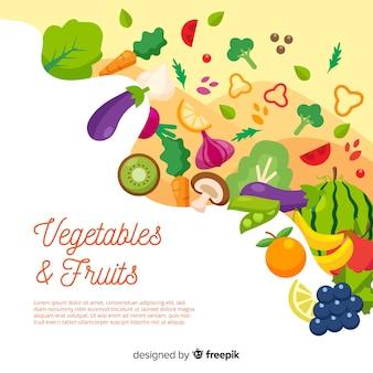 手描きの新鮮な果物や野菜の背景