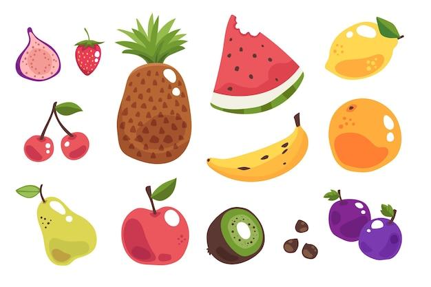 Raccolta di frutta fresca disegnata a mano