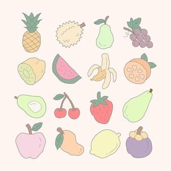 Коллекция рисованной свежих фруктов