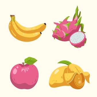 Набор рисованной свежих фруктов