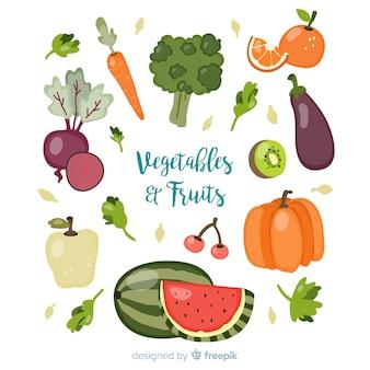 Sfondo di frutta e verdura fresca disegnata a mano