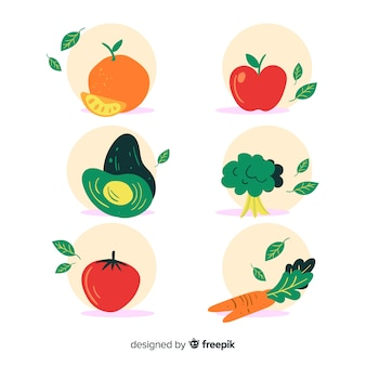 Hand drawn fresh fruit and vegetable background