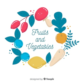 Hand drawn fresh fruit and vegetable wreath background