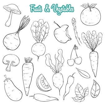 Hand drawn fresh fruits and vegetables collection