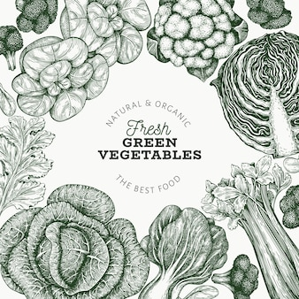 Hand drawn fresh green vegetables label