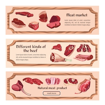 Hand drawn fresh meat horizontal banners