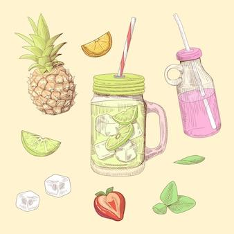 手描きの新鮮な夏の飲み物