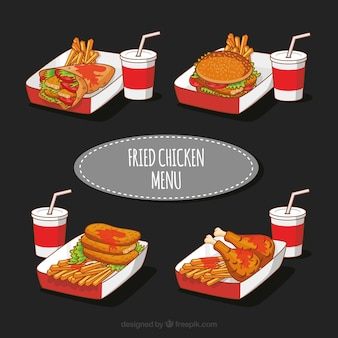 Hand-drawn fried chicken menu