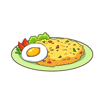 Hand drawn fried rice and egg