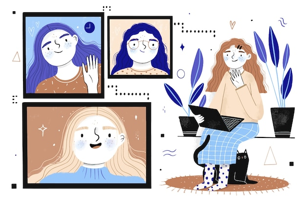 Hand drawn friends video calling on laptop illustration