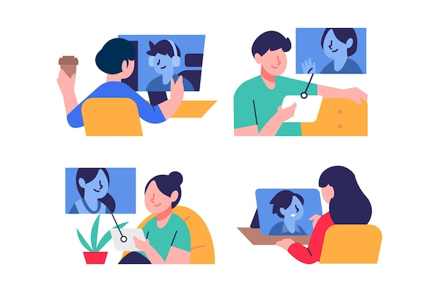Hand drawn friends videoconferencing scene
