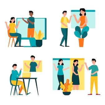 Hand drawn friends videoconferencing scenes set