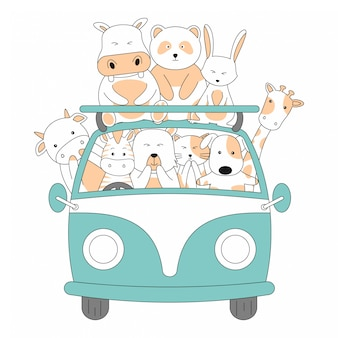 Hand drawn friendship ride car together cute animals cartoon
