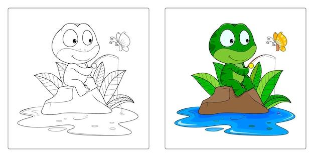 プレミアムページを着色するための手描きのカエル