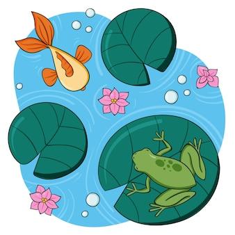 Нарисованная рукой иллюстрация лягушки