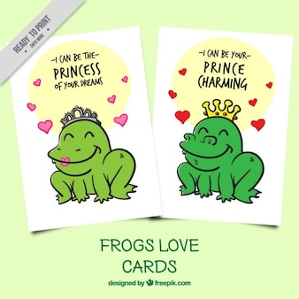 Hand drawn frog love cards