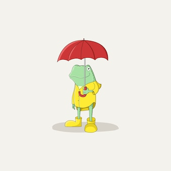 Hand drawn frog with red umbrella.character design.