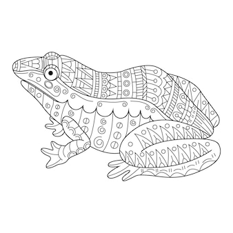 Hand drawn of frog in zentangle style