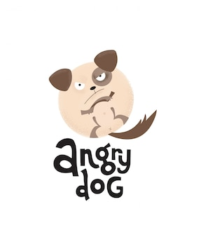Hand drawn frowning round puppy is paws up with lettering quote angry dog.