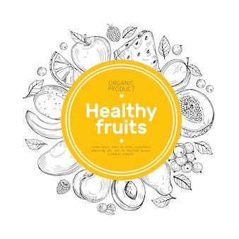 手描きのフルーツの背景。オレンジとぶどう、マンゴーナシ、スイカ、ラズベリーピーチ農園の有機食品