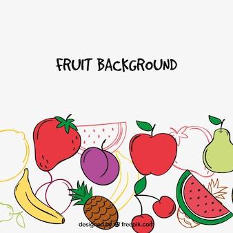 Ручной обращается фон фруктов