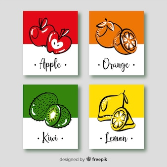 Hand drawn fruit card set