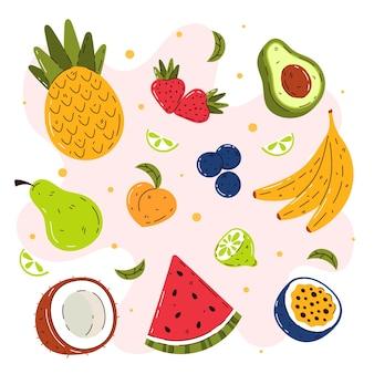 手描きのフルーツコレクション