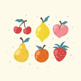 Коллекция рисованной фруктов