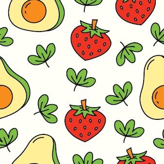 손으로 그린 과일 낙서 만화 패턴 디자인