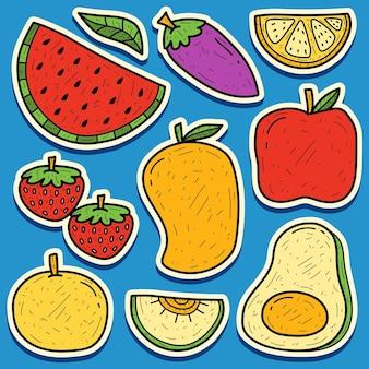 손으로 그린 과일 낙서 만화 스티커 디자인