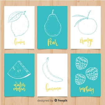 Hand drawn fruit food card set